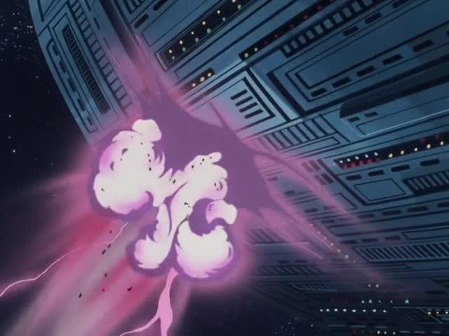 爆発の衝撃でコロニーに穴が開く