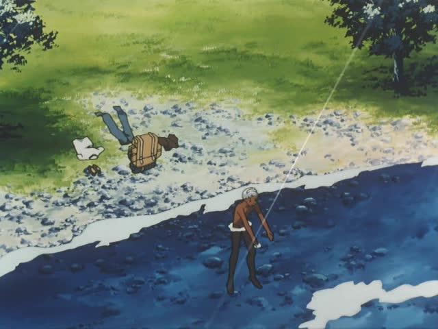 川岸で水遊びをし始めるロラン