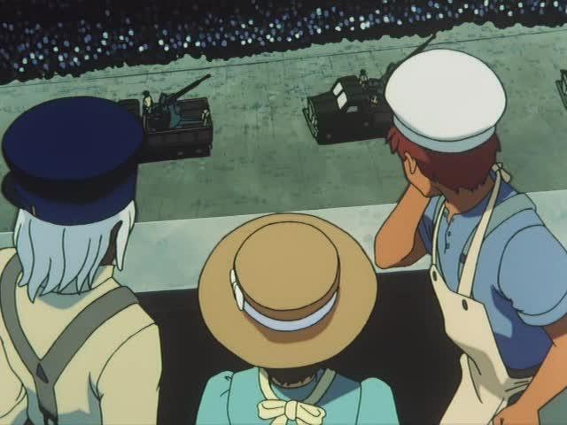 軍隊を上から見下ろす3人