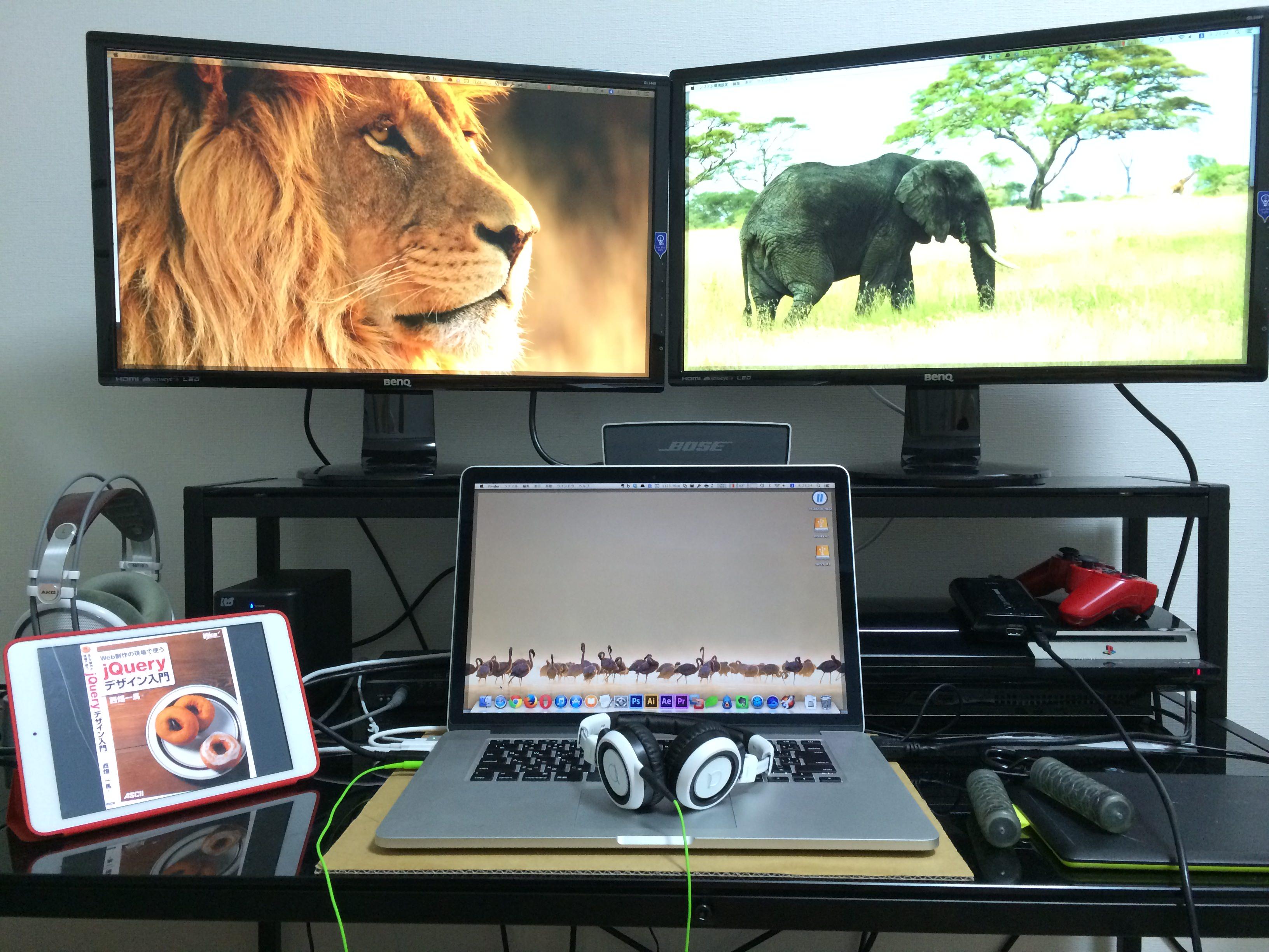 BenQ24型ワイドディスプレイGL2460HM と MacBook
