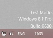 windows8.1のテストモードのスクリーンショットです。