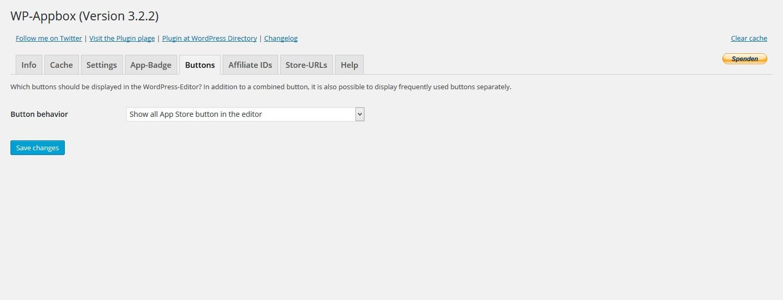 WP-AppboxのButtons設定のスクリーンショットです。