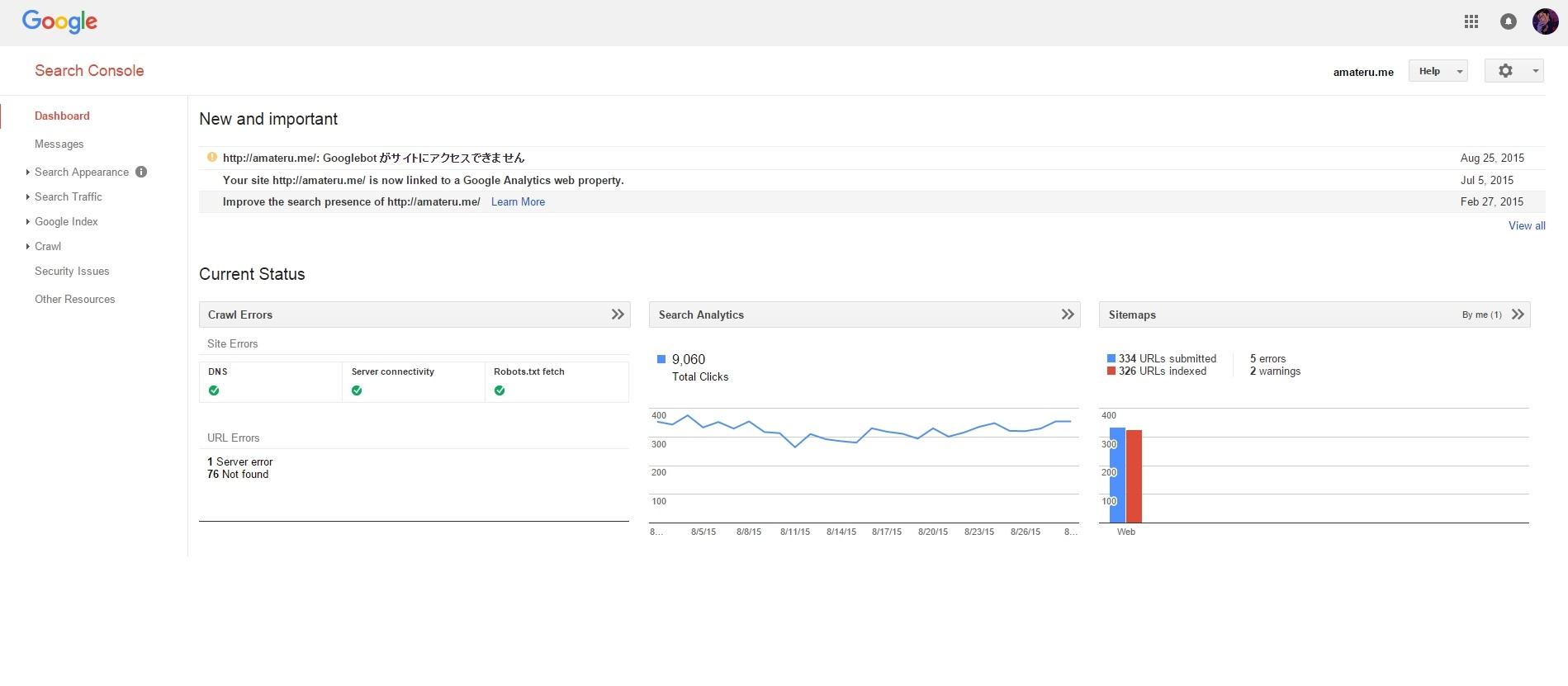Google Search Consleのダッシュボードのスクリーンショットです。
