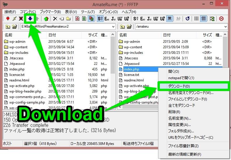 FFFTPのダウンロード実行画面のスクリーンショットです。