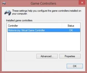 Game Controllersのスクリーンショットです。