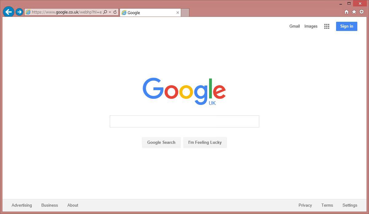英国(イギリス)版Google(英語表記)のスクリーンショットです。