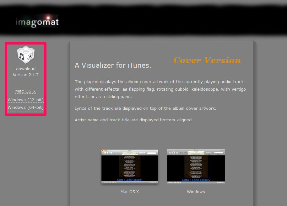 iTunes Visualizer- Cover Versionの公式ウェブページのスクリーンショットです。