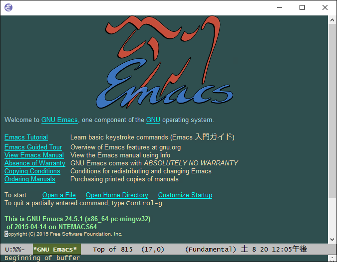 「Emacs applied my setting」