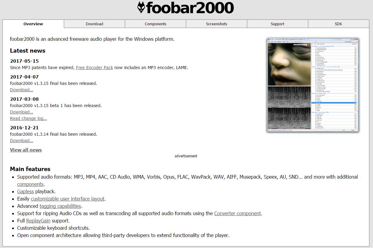 foobar2000 公式Webサイト