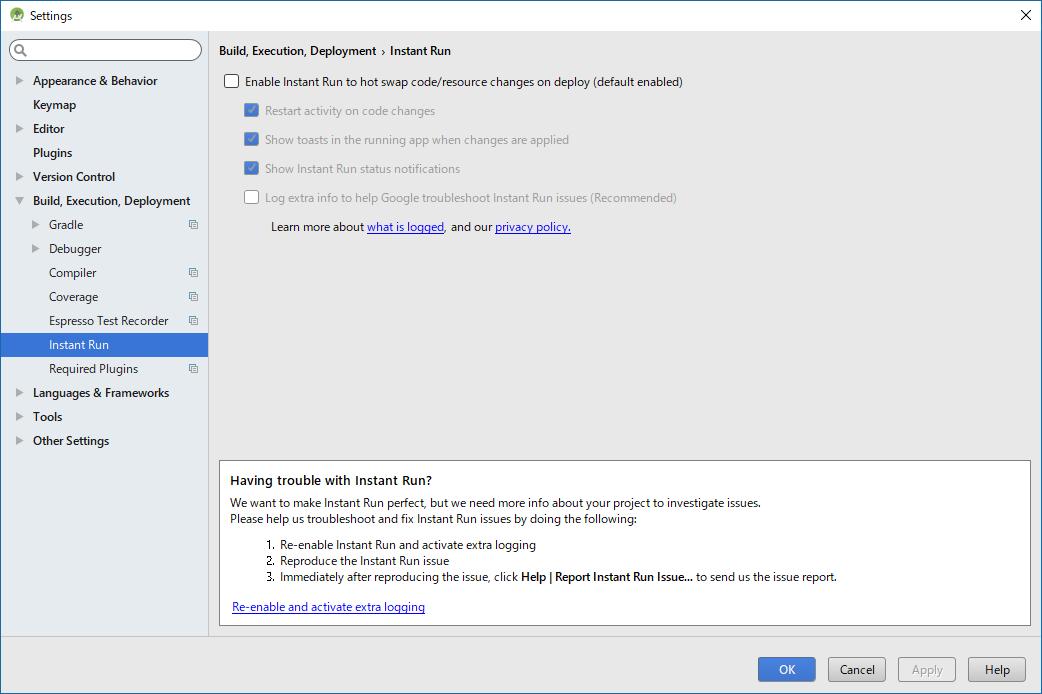 Android Studio - File, Settings, Build, Instant Run
