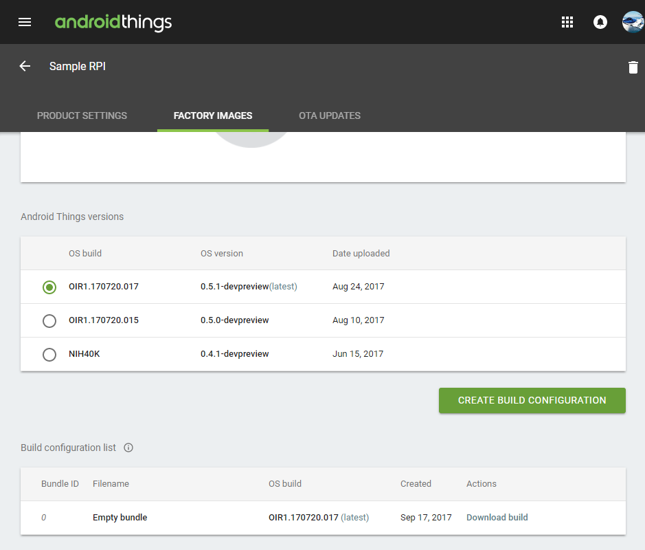 Android Things Console Factory Images
