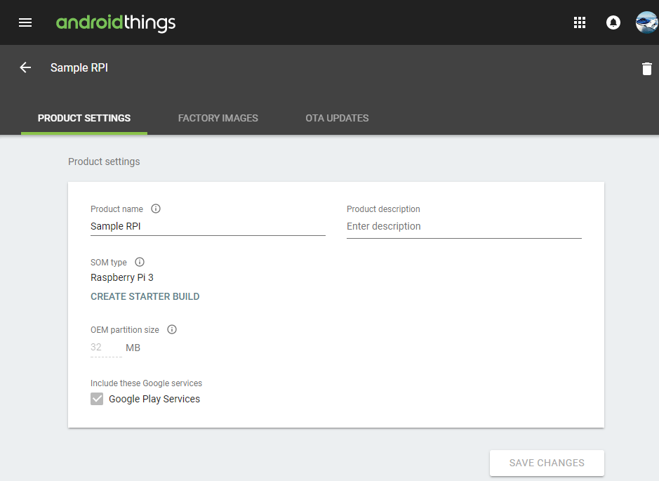 Android Things Console Product Settings