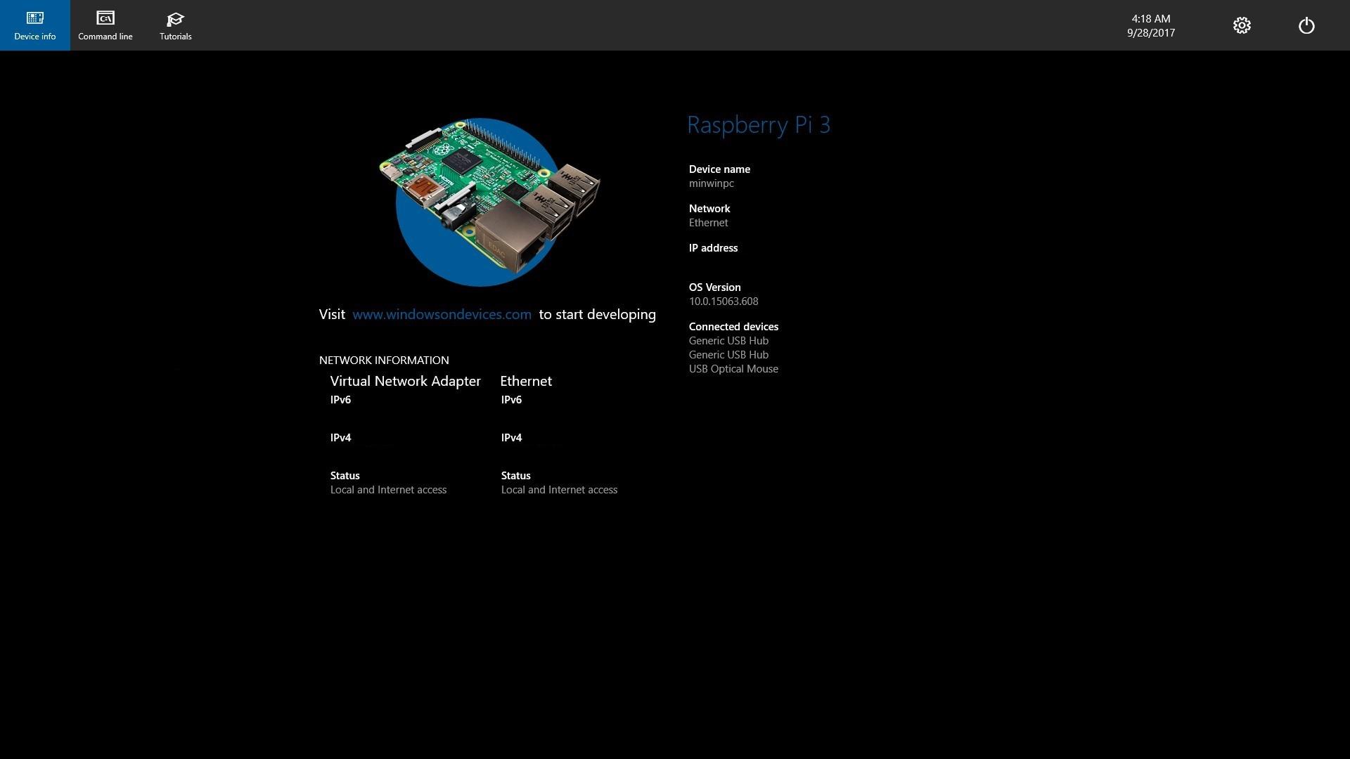 Windows 10 IoT デフォルト画面