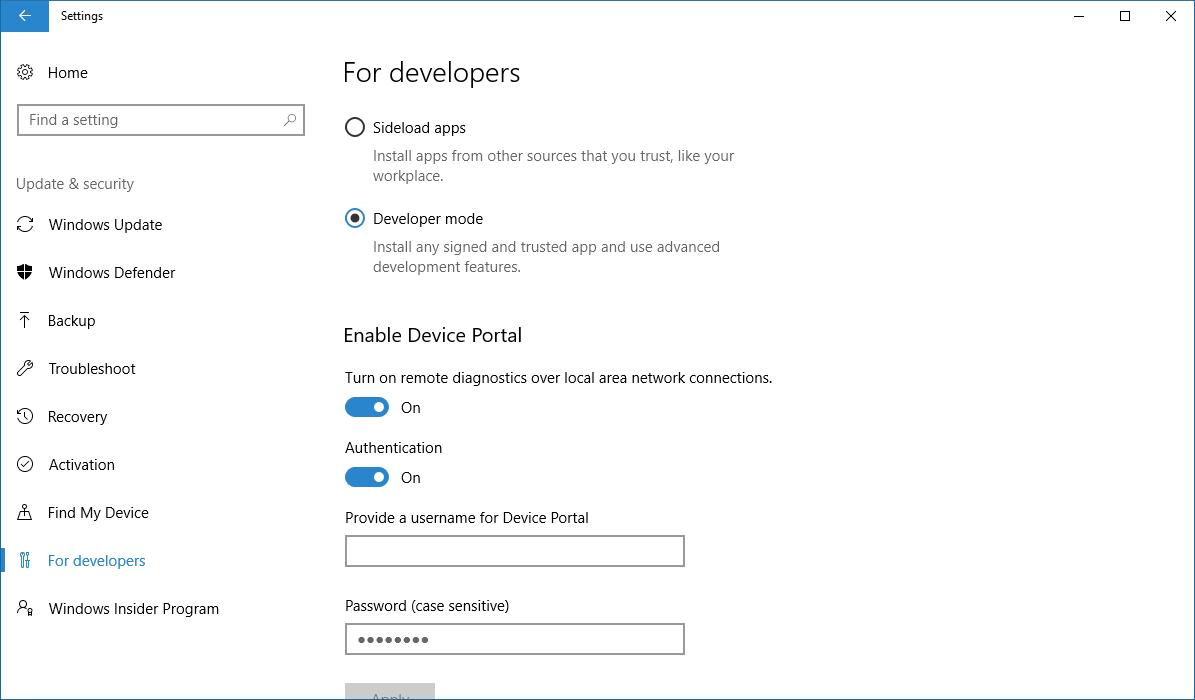 開発者モードとDevice Portal