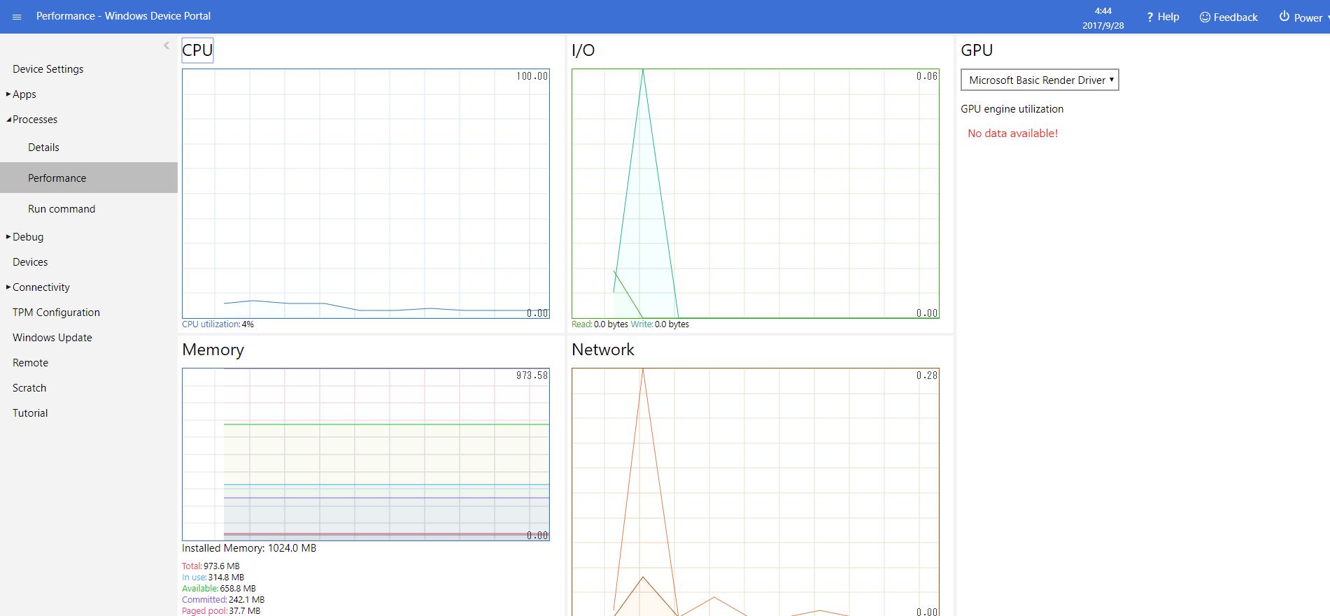 Windows Device Portal Performance