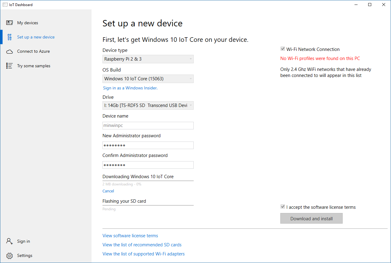 Windows 10 IoT Dashboard