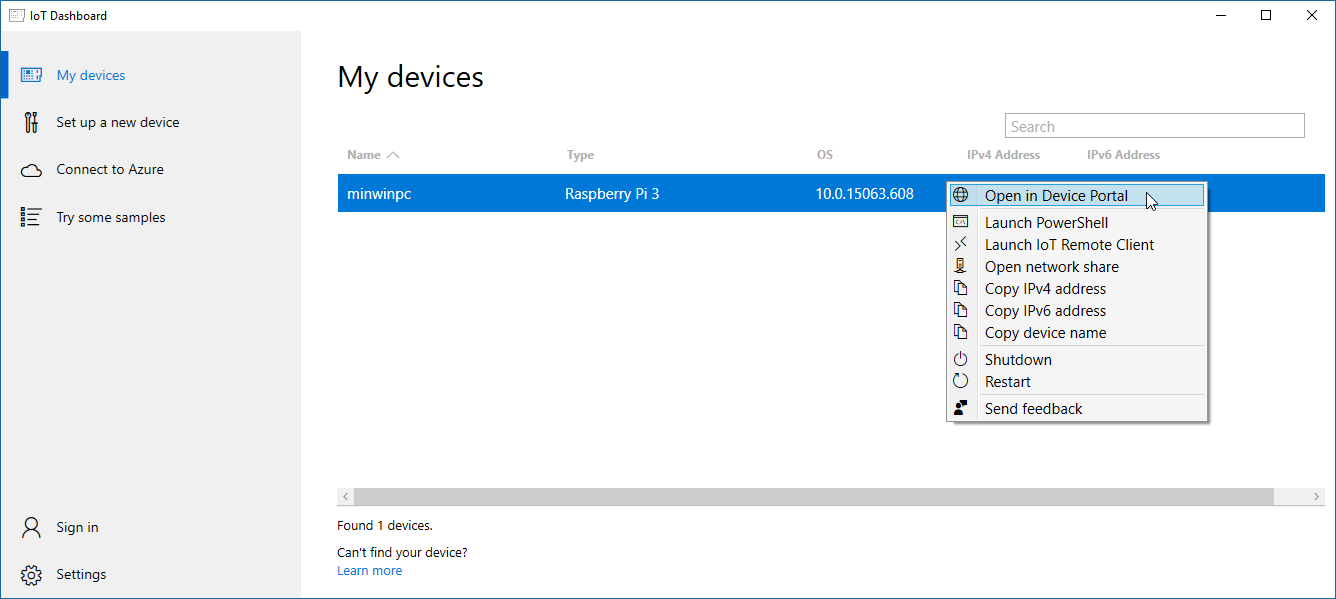 Windows IoT Dashboard My Devices