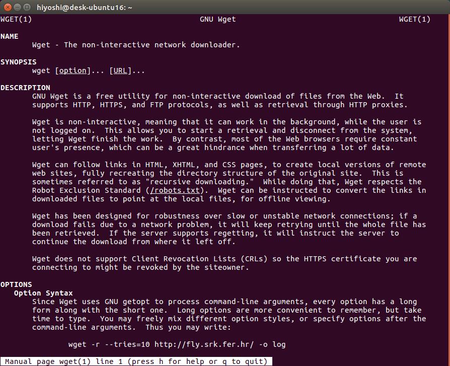 man wget Linux