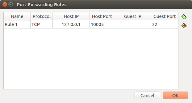 VirtualBoxのport forwarding設定