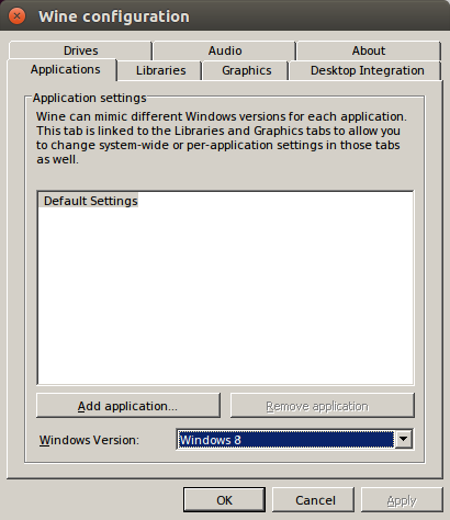 Winecfg Windows version is 8