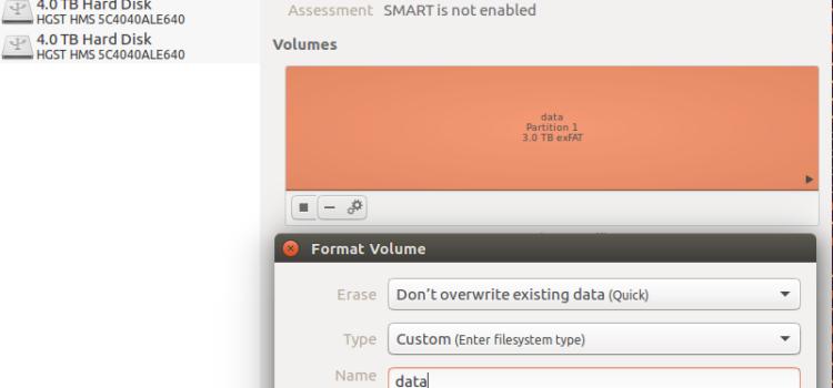 【Linux】UbuntuでストレージをexFATにフォーマットする方法