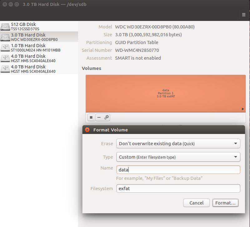 disks format exfat ubuntu