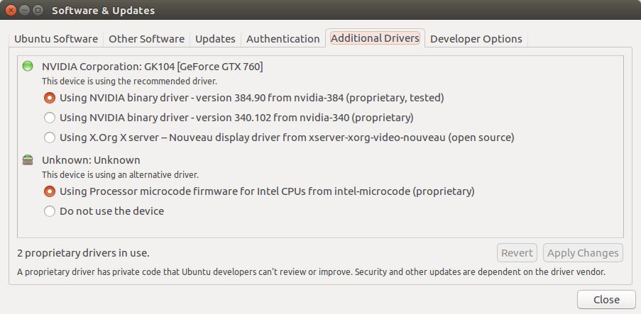 Ubuntu 追加のドライバー
