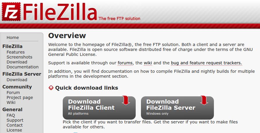 FileZilla 公式ウェブ