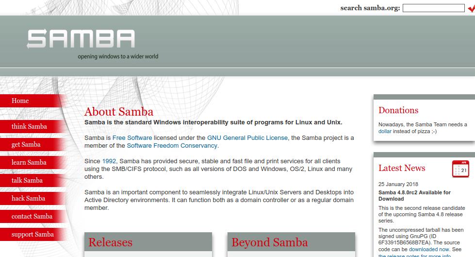 samba 公式ウェブ