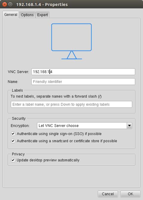 VNC Viewerの新規接続
