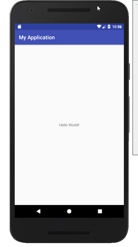 Android Studio エミュレータ Hello World