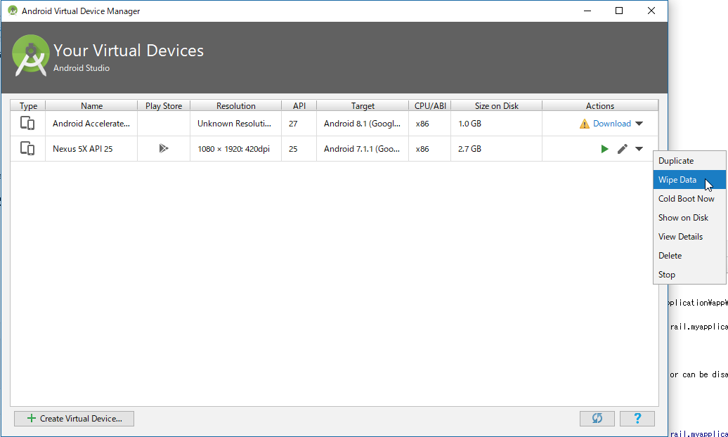 Android Studio wipe data